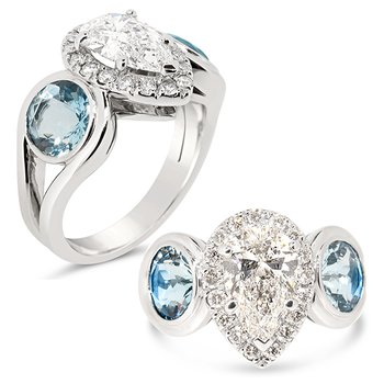 pear shaped center with aquamarines ring
