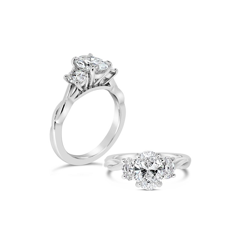 Aires Custom Bridal oval center three stone ring