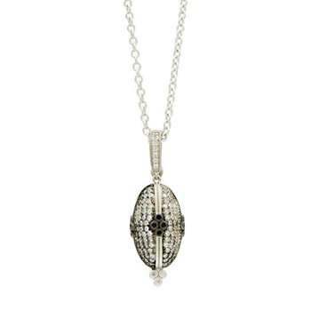 IF SS/BLK RHOD/ CZ OVAL PAVE PENDANT NECKLACE 27""