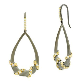 MD SS/14KYP/CZ PAVE ROPED TEARDROP EARR