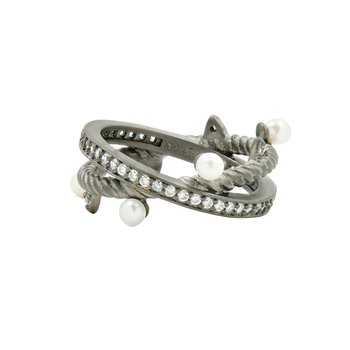 TP SS/BLK RHOD/ CZ/ PEARL CROSSOVER RING SZ 7
