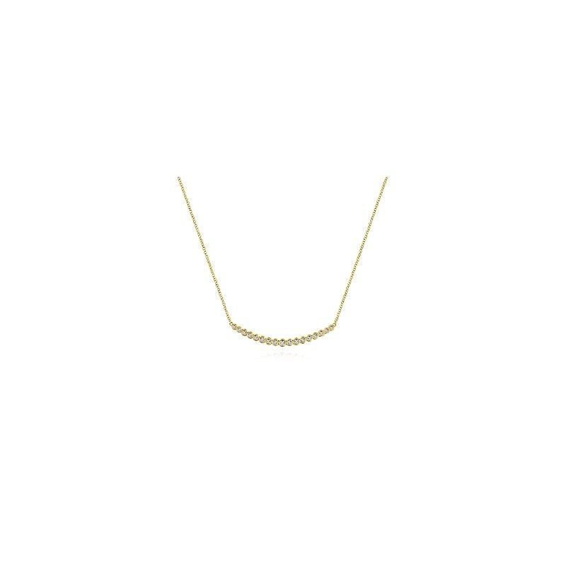 Gabriel Fashion 14KY .24CT DIA BEZEL SMILE NECKLACE