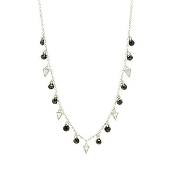 IF SS/ BLK CZ/ MOP CHARM CHOKER NECKLACE 18""