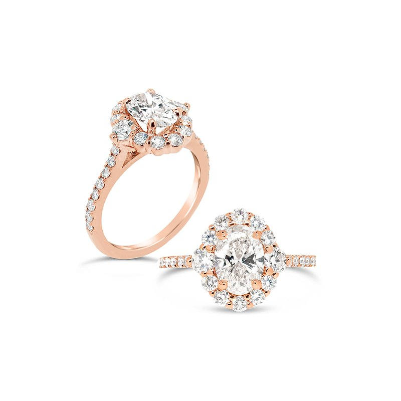 Aires Custom Bridal oval center with halo
