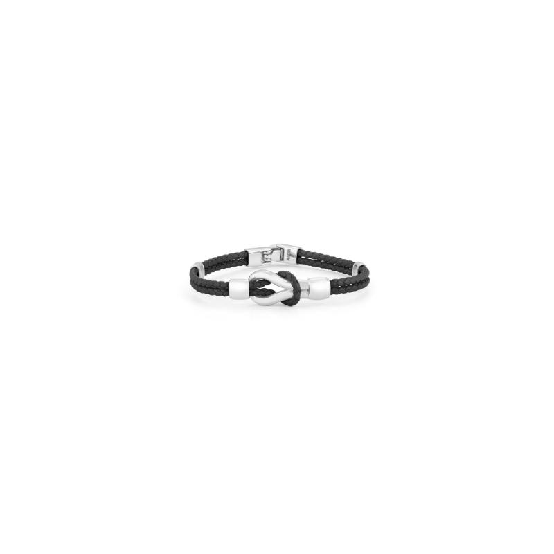 ALOR Gent's Stainless Steel Black Braided Leather Bracelet