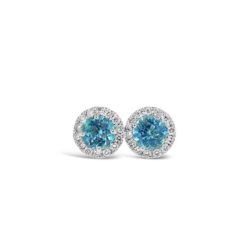 Aires Custom Fashion blue zircon earrings