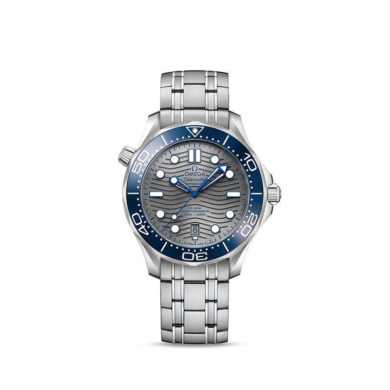 Omega SeaMaster Diver 300m / automatic / 42mm / Blue Ceramic Bezel / Grey Dial / Stainless Steel Bracelet