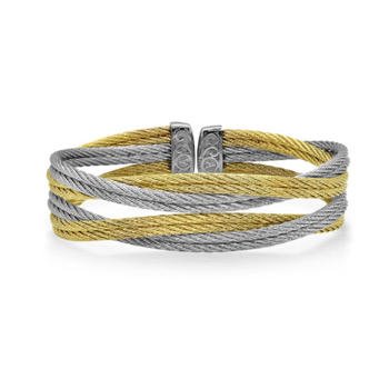 Grey & Yellow Cable Entwine Cuff
