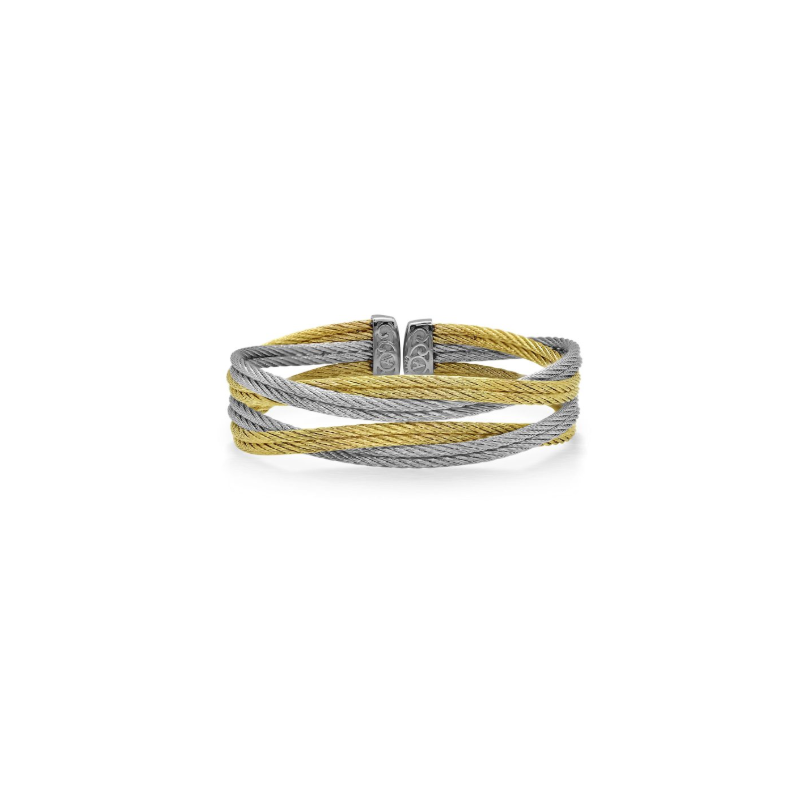 ALOR Grey & Yellow Cable Entwine Cuff