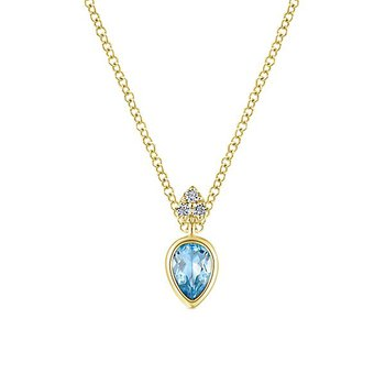 14KY .03CT DIA/ .55CT BL TPZ NECKLACE