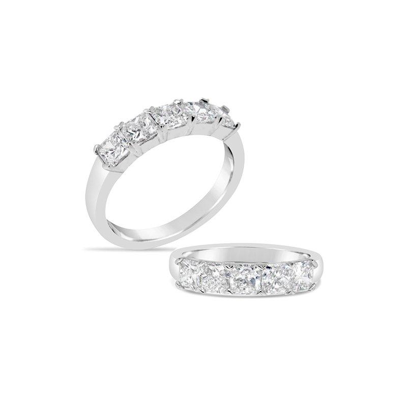 Aires Custom Bridal shared prong 5 stone band