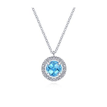 14KW .21CT DIA/ RD BLUE TOPAZ NECKLACE