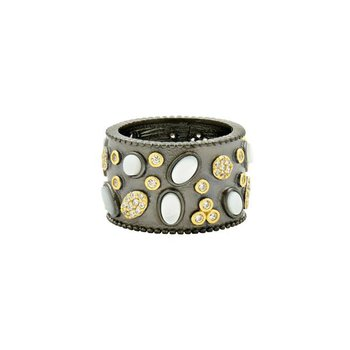 IMP/SS/BLK RHD/14KYP MULTI STONE WIDE BAND RING