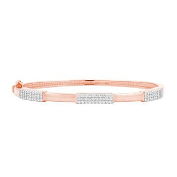 RAD SS/ 14KRP/CZ THIN HINGE BANGLE