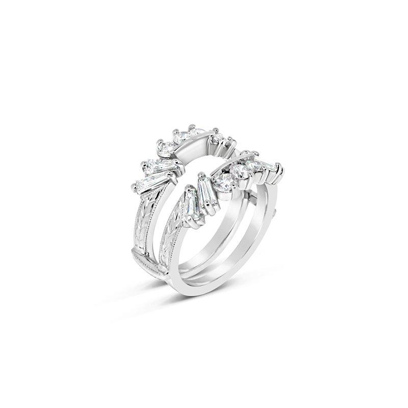 Aires Custom Bridal princess center with diamond sides