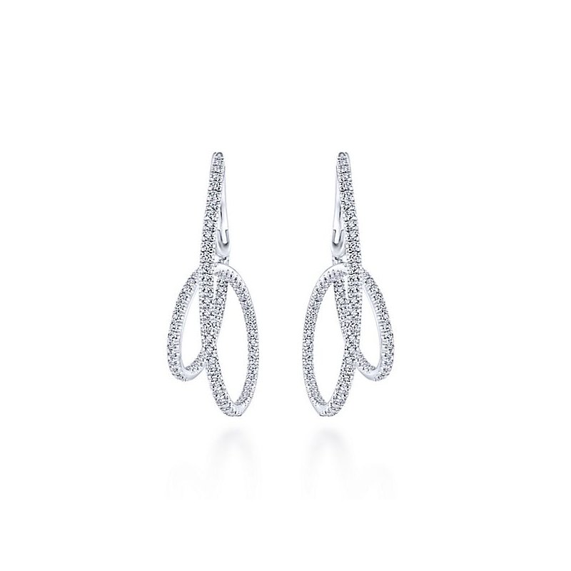 Gabriel Fashion 14KW 1.46CT DIA OPEN LOOP DESIGN EARRINGS