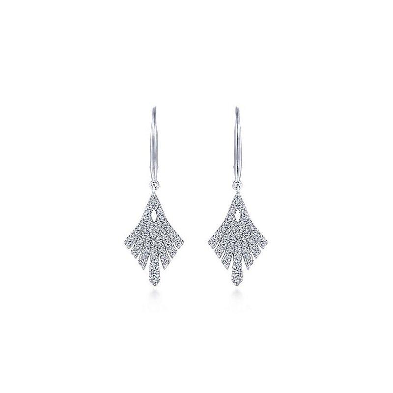 Gabriel Fashion 14KW .66CT DIA FANCY DROP EARRINGS