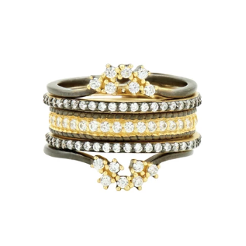 MD SS/14KYP/CZ PAVE 5 STACK RING SZ7