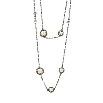 IF SS/BLK RHOD/ CZ PEARL LONG NECKLACE 36""