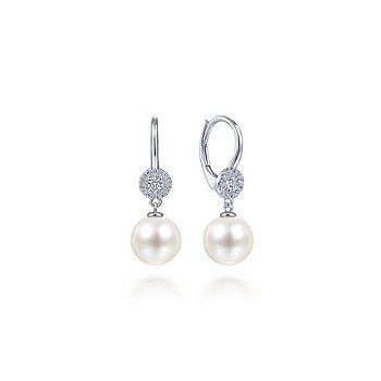 14KW .19CT DIA/ 8.5MM PEARL DROP EARR