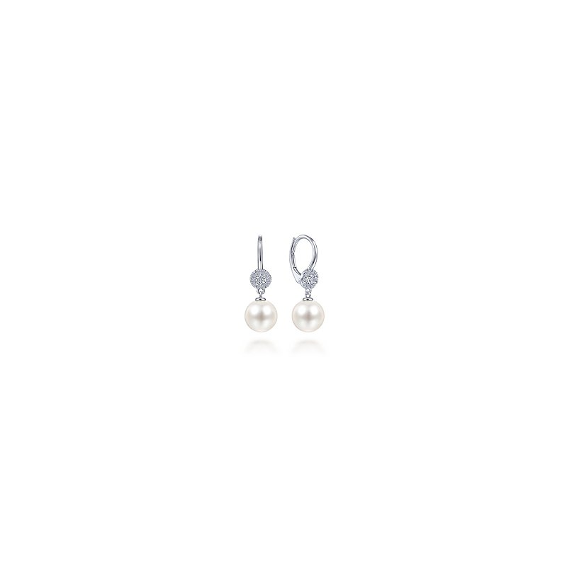 Gabriel Fashion 14KW .19CT DIA/ 8.5MM PEARL DROP EARR