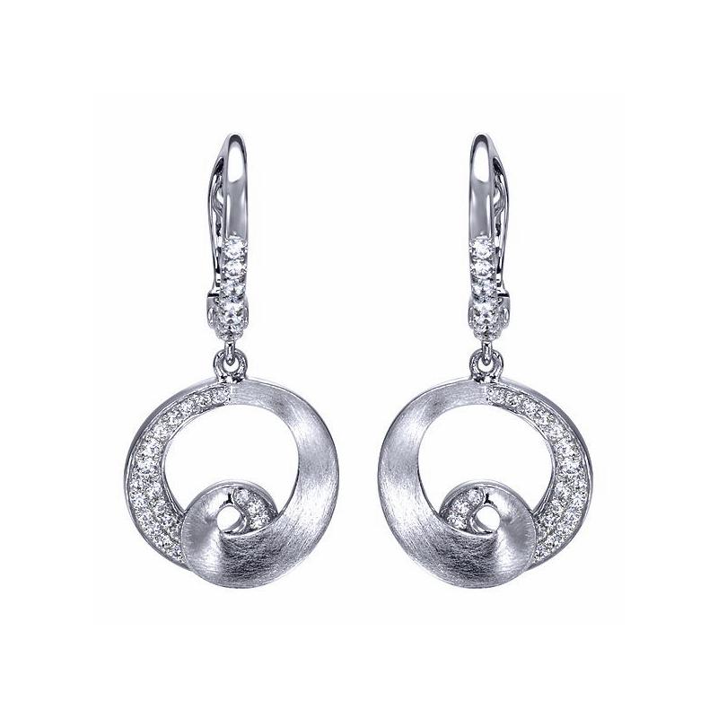 Gabriel Fashion 14KW .28CT DIA DROP EARRINGS
