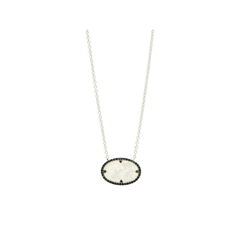 Freida Rothman IF SS/ BLK CZ/ MOP OVAL PENDANT NECKLACE 18""