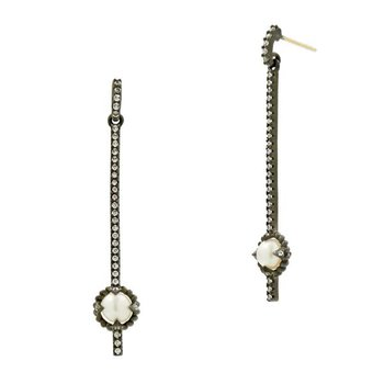IF SS/BLK RHOD/ CZ PEARL LINEAR DROP EARRINGS 14K POSTS