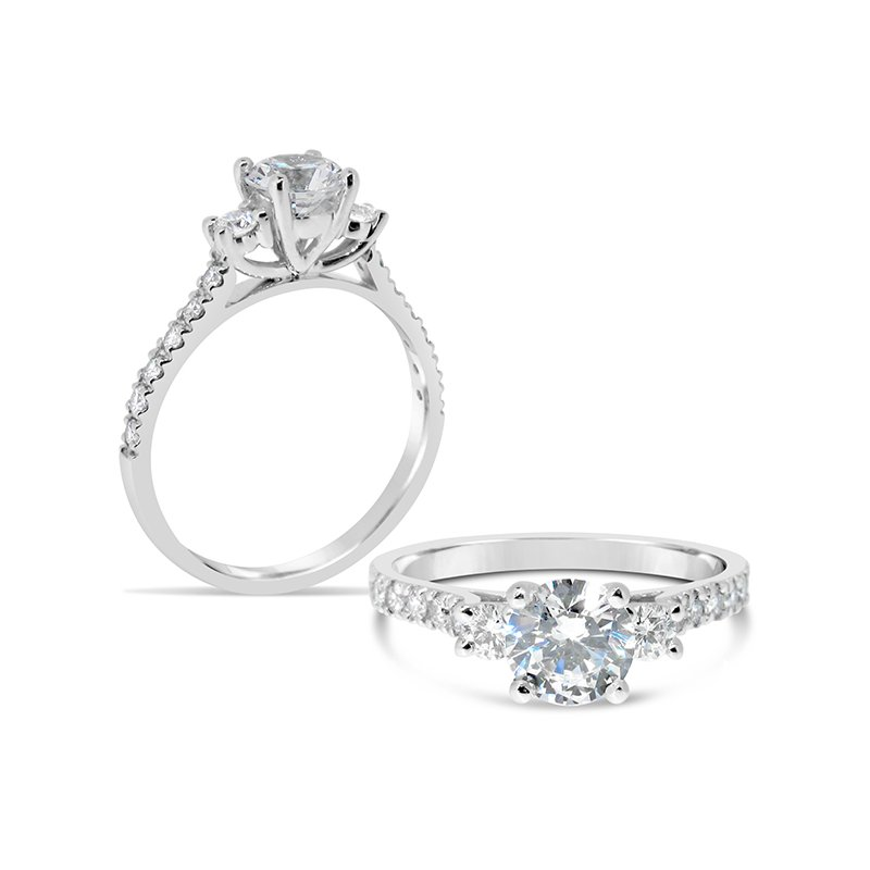 Aires Custom Bridal Round center diamond ring