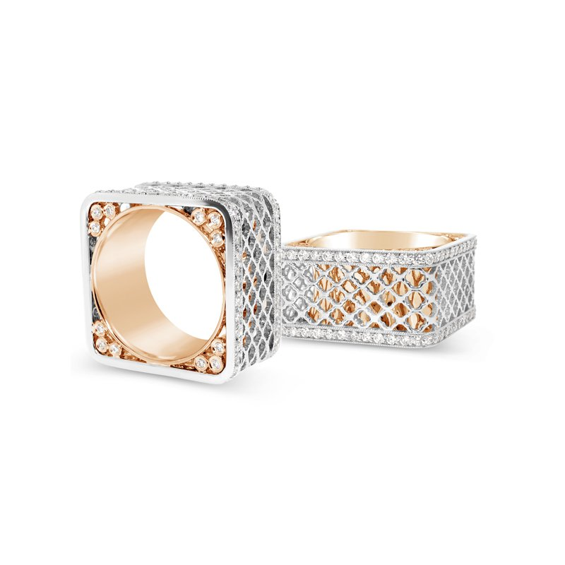 Aires Signature Collection Platinum and Rose Gold Diamond ring