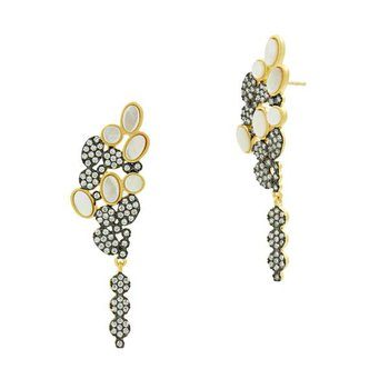 IMP/SS/BLK RHD/14KYP MOP AND PAVE CLUSTER EARRINGS
