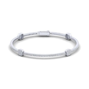 14KW 1.28CT DIA SQ STATION TENNIS BRACELET 7""