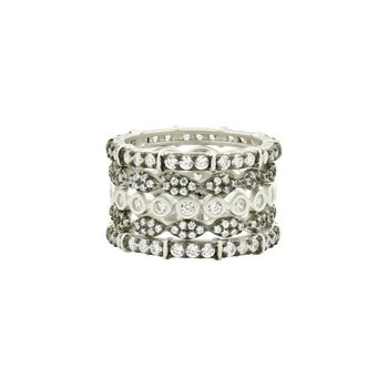 SS/ CZ CLASSIC MIXED 5 STACK RING SZ7