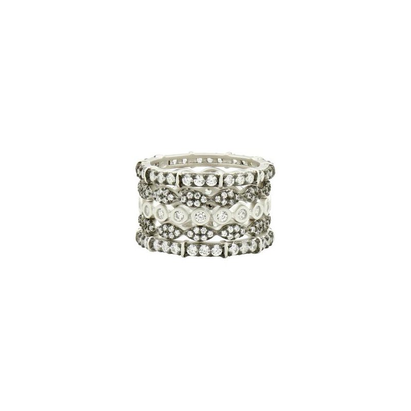 Freida Rothman SS/ CZ CLASSIC MIXED 5 STACK RING SZ7