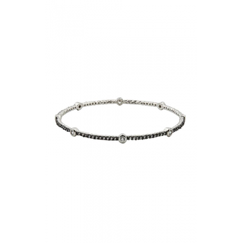 SS/CZ BEZEL STATION PAVE BANGLE