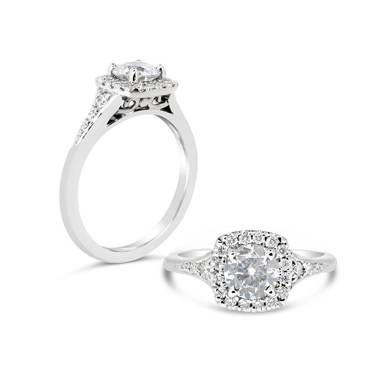 Aires Custom Bridal round center cushion halo ring