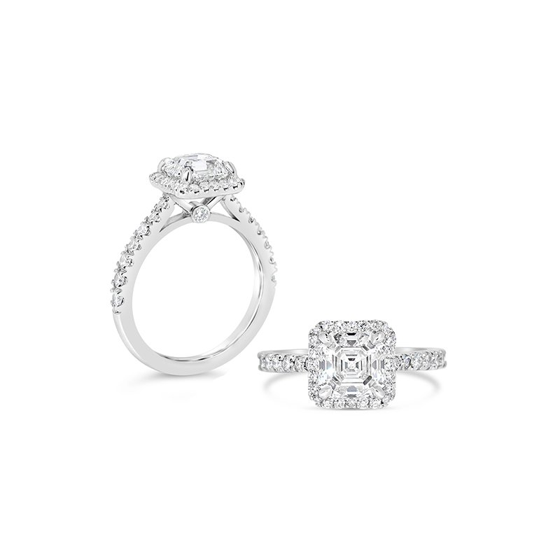 Aires Custom Bridal asscher center with halo