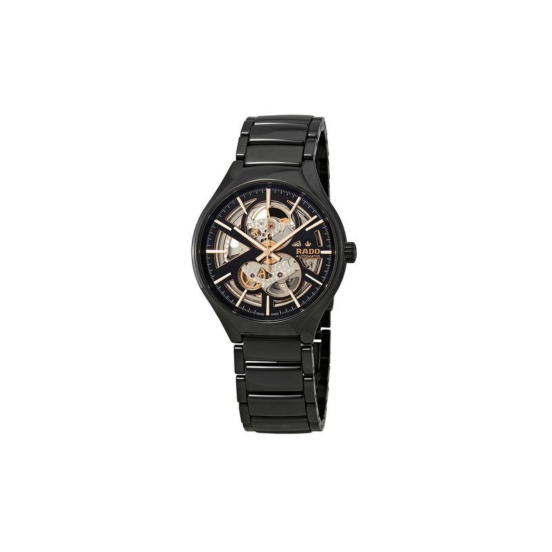 Rado True Automatic Open Heart Black/Skeleton Dial Men's High-Tech Ceramic Watch