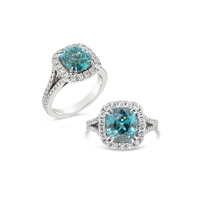 Aires Custom Fashion blue zircon ring