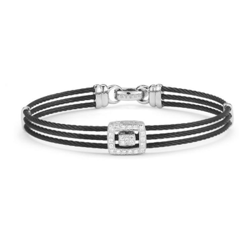 Noir Triple Black Cable with Open Square Diamond Station Bracelet