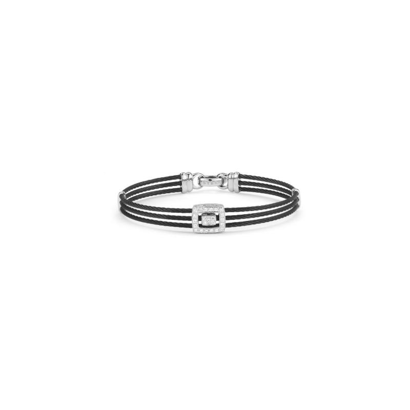 ALOR Noir Triple Black Cable with Open Square Diamond Station Bracelet