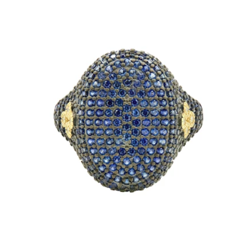 MD II/ SS/ 14KYP/ BLUE CZ PAVE COCKTAIL RING SZ 7