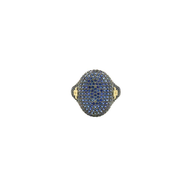 Freida Rothman MD II/ SS/ 14KYP/ BLUE CZ PAVE COCKTAIL RING SZ 7