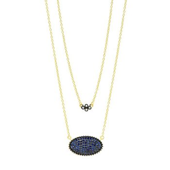 MD II/ SS/ 14KYP/ CZ OVAL PAVE DOUBLE PENDANT 18""