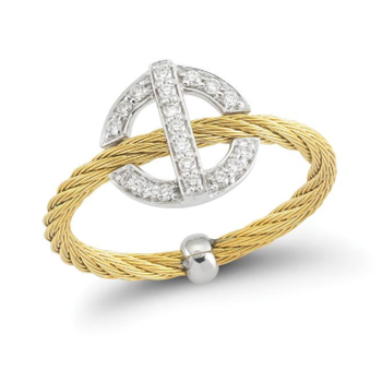 Yellow steel cable and 18K white gold round diamond top ring