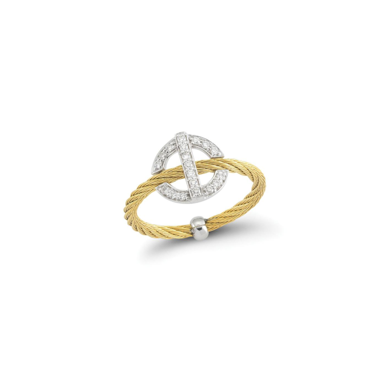 ALOR Yellow steel cable and 18K white gold round diamond top ring