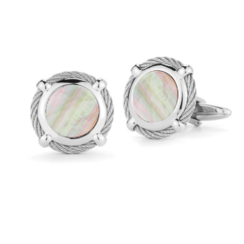 Grey Cable Classic Round Cufflink with Mother of Pearl