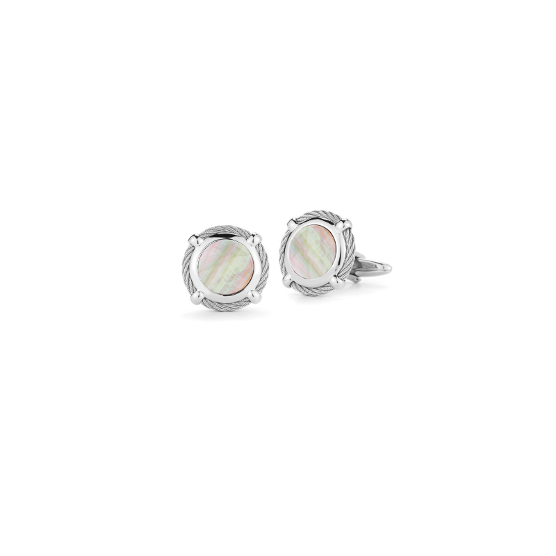 ALOR Grey Cable Classic Round Cufflink with Mother of Pearl