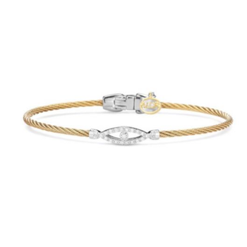 Alor Classique Collection Stainless Steel and White Gold Yellow Cable Bangle Bracelet
