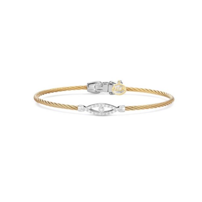 ALOR Alor Classique Collection Stainless Steel and White Gold Yellow Cable Bangle Bracelet
